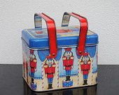 Vintage Tin Metal Basket, Toy Solider Nutcracker, Blue with Red handles