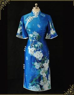 Blue silk cheongsam dress sps10 - Custom-made Cheongsam,Chinese clothes, Qipao, Chinese Dresses, chinese clothing,EFU Tailor Shop