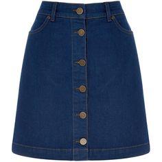 OASIS The Denim Skirt ($51) ❤ liked on Polyvore featuring skirts, mini skirts, bottoms, faldas, saias, denim, denim miniskirt, a-line skirt, a line denim skirt and denim skirt