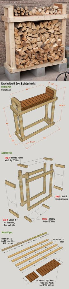 Free Firewood Rack Plan - build it for $42 (including lumber, Cinder blocks and screws), with a top shelf.