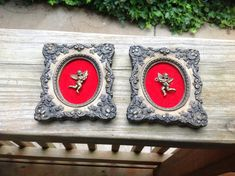 Pair of Vintage Resin Frame with Red Velvet by thecherrychic