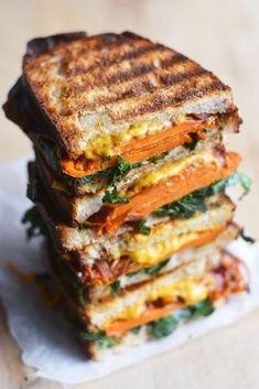 Vegan Balsamic Sweet Potato Grilled Cheese Sandwich – The Colorful Kitchen - Vegan Sandwich Vegan Grilling, Grilling Recipes, Cooking Recipes, Barbecue Recipes, Barbecue Sauce, Vegetarian Sandwich Recipes, Vegan Recipes, Vegetarian Cooking, Going Vegetarian