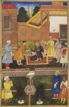 Akbar in old age resting with attendants in a palace garden, Mughal, circa 1600 gouache with gold on paper, mounted with borders of cream paper, the outer border speckled with silver, reverse with eight-line inscription in nagari script, Mewari inventory numbers 35/241, 2 painting: 17 by 10.9cm. leaf: 21.3 by 15.1cm.