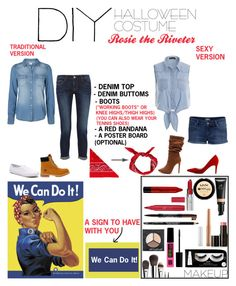 """""""DIY Halloween Costume- Rosie The Riveter"""" by ablondebabe on Polyvore featuring Vero Moda, Frame Denim, Boohoo, NLY Accessories, Keds, NYX, Maybelline, e.l.f., Laura Mercier and Timberland"""