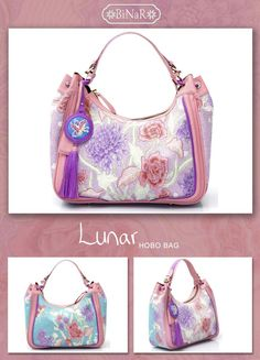 LUNAR Hobo Bag...using Vintage Batik EV.Zuylen with additional Outline n Isen Embroidery...in Genuine Cow Leather.