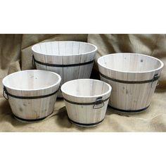 Shine Company Inc. Shine Company Inc. Wood Round Shallow Cedar Barrel Planters (Set of 4)