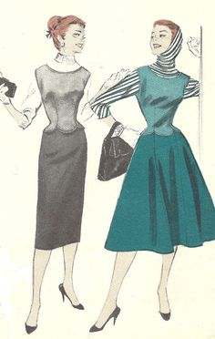Uncut 1950s Vintage Pattern, Blouse, Jerkin and Skirt, Butterick 7460