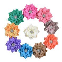 SEEKO 10PCS Crystal Lotus Flower Child Baby Head Flower Corsage Hair Accessories TFA426 *** Visit the image link more details.