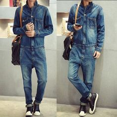 Classic Fashion Mens Denim Jumpsuits Overalls One Piece Suspender Trousers Jeans #Unbranded #Overalls
