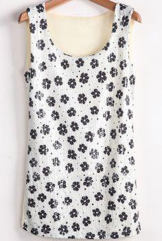 White and Black Sequnied Flowers Chiffon Vest US$15.90