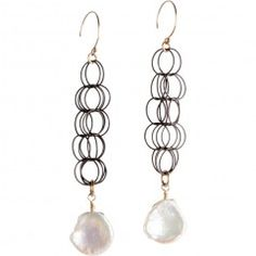 Tracy Arrington E119 GO Earrings available at www.poppyarts.com!  $128 The new look of classic in oxidized silver, 14K gold fill and fresh water pearls.  #classic #tracyarrington #poppymadebyhand