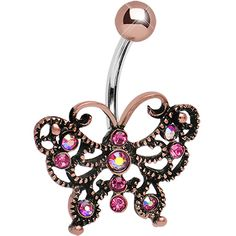 Pink Gem Antique Black Butterfly Belly Ring #bodycandy #butterfly #bellyring $11.99