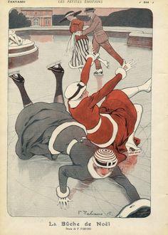 1915 ''La Bûche de Noël'' ice Skating Winter Sport  Source   Fantasio  Illustrator    Fabien Fabiano