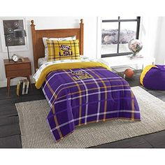 Twin NCAA COL LSU Tiger Comforter Set Purple Yellow Sports Patterned Bedding Team Logo LSU Tiger Merchandise Team Spirit College Football Themed