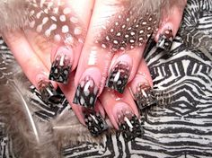 feathered nail design
