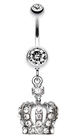 Dazzling Royal Crown Belly Button Ring - 14 GA (1.6mm) - Blue - Sold Individually