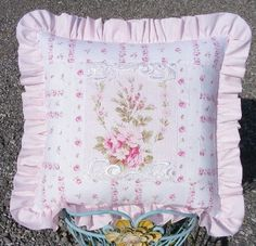 Pink Rose Barkcloth, Ruffle, Shabby cottage pillow
