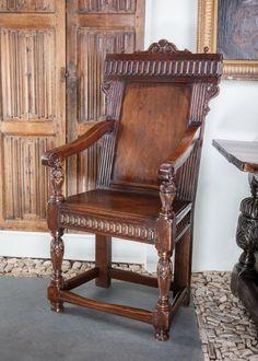 Elizabeth I walnut armchair, circa 1580. Marhamchurch antiques
