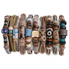 Ceramic & Leather Tribal Bracelets