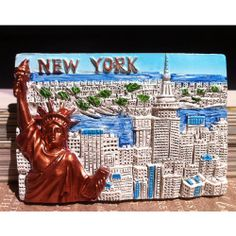 PLACES I'VE BEEN TO'S - SOUVENIR Resin FRIDGE MAGNET -- New York , USA - $6.