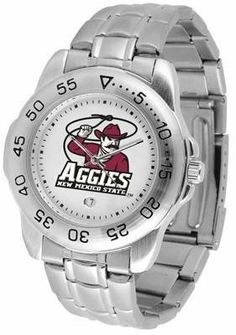 New Mexico State Aggies NMSU NCAA Mens Sports Steel Watch by SunTime. $54.95. Calendar Function With Rotating Bezel. Links Make Watch Adjustable. Stainless Steel-Scratch Resistant Crystal. Men. Officially Licensed New Mexico State Aggies Men's Stainless Steel Logo Watch. This handsome eye-catching Mens Sport Watch with Steel Band comes with a stainless steel link bracelet. A date calendar function plus a rotating bezel/timer circles the scratch resistant crystal. Sport the bold c...