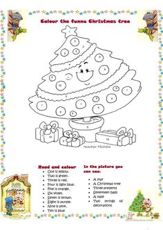 Colour the funny Christmas tree