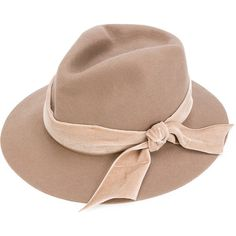 Ca4la classic bow-lined hat (2.849.040 IDR) ❤ liked on Polyvore featuring accessories, hats, brown hat, ca4la hats, lined hat, ca4la and bow hat
