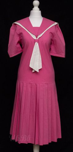 Vintage Laura Ashley Pink Drop Waisted Sailor Dress Gatsby 1920s Size 10 12