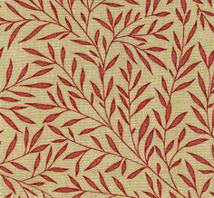 Lily Leaf Cotton Fabric Fine leaf design in red on cream - fabricsandpapers.com