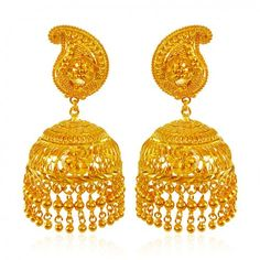 Gold Indian design Jhumka earrings are designed with intricate filigree work and machine cuts. Hanging gold balls enhances its look. Earrings Type: Screw Back Post. Gold Jewellery Design, Gold Jewelry, Beaded Jewelry, Gold Jhumka Earrings, Gold Necklace, Bangle Set, Gold Bangles, Necklace Designs, Crochet Earrings