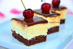Dessert Cake Recipes, Sweets Recipes, Cheesecake Recipes, Cooking Recipes, Romanian Desserts, Romanian Food, Square Cakes, Chocolate Cheesecake, Turkish Recipes