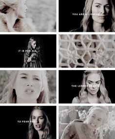 Cersei Lannister: When my father sent for me to court I wept and Jaime raged, until my aunt sat me down in the Stone Garden and told me there was no one in King's Landing that I need ever fear. 'You are a lioness,' she said, 'and it is for all the lesser beasts to fear you.' #asoiaf