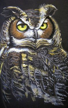 X Portrait of a Night Owl who needs a rest. Painted in Watercolor and Gouache on Strathmore black Field Paper. Owl Pictures, Owl Pics, Owl Illustration, Illustrations, Owl Who, Great Horned Owl, Owl Crafts, Night Owl, Animal Totems