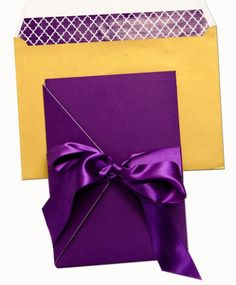 Purple and Gold pocketfold wedding invitations for an elegant design. Luxury pocket fold invitation, lined with a shimmery printed paper. Pocketfold Invitations, Wedding Invitations, Pocket Invitation, Wedding Gold, Stationary, Bows, Elegant, Purple, Prints