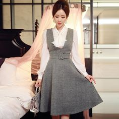 Cheap wool dress, Buy Quality dress women directly from China fashion dress woman Suppliers: original wool dress 2016 new fashion temperament v collar waist slim casual sleeveless midi vest dresses women pink dll Trendy Dresses, Cute Dresses, Vintage Dresses, Dresses For Work, Casual Dresses, Dresses 2016, Fall Fashion Trends, Autumn Fashion, Modest Fashion