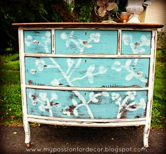Cherry blossom dresser with ASCP in Provence by My Passion For Decor: Facebook Dresser....Inspired By Elles Bedding