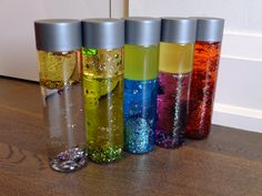 DIY sensory bottles! Some food colouring in water, sparkles and finish off with regular cooking oil!