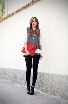 #fashion #fashionista Irene bianco grigio nero Irene's Closet - Fashion blogger outfit e streetstyle: Leggings e i miei nuovi capelli