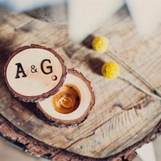 Rustic Tree Slice Ring Box | Khaki Bedford Weddings | TheKnot.com