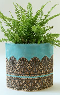 Handmade Moroccan Lace Porch Planter in Turquoise, Size Medium. via Etsy.
