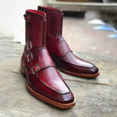 Handmade Men's Burgundy Colour Quad Monk Strap Boots Brogue Chelsea Boots, Leather Chelsea Boots, Leather Men, Leather Boots, Soft Leather, Leather Jacket, High Ankle Boots, Slip On Boots, Quad