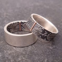 RESERVED down payment listing -- Opposites Attract Wedding Band Set - Dandelion Pattern