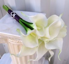 Calla lily Wedding bouquet white plum real by BrideinBloomWeddings Lily Bouquet Wedding, Calla Lily Bouquet, White Wedding Bouquets, Wedding Flowers, Boquet, Calla Lilies, Wedding White, Bridesmaid Bouquets, Bridal Bouquets