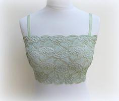 31f55c1346 Mint green lace bralette. Elastic lace top. Mint green top. Lace lingerie.
