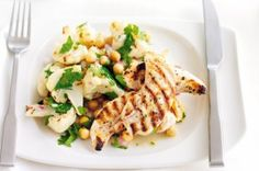 Chargrilled Chicken With Cauliflower And Chickpea Salad by Taste. 20 minutes is all it takes to create this delicious and tasty meal. Gf Recipes, Chicken Recipes, Dinner Recipes, Healthy Recipes, Free Recipes, Chicken Cauliflower, Cauliflower Salad, Healthy Salads, Healthy Eating