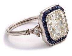 Sapphire.....loyal and faithful. Beautiful vintage engagement ring. This Virgo's birthstone ❤️
