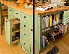 Kitchen Island: light green would look nice too on a spanish floor