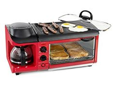The Nostalgia Retro Series Powerful Family Size Breakfast Station makes a complete breakfast with just one appliance. Large family size non-stick griddle. Removable oven tray and non-stick griddle for easy cleaning. Breakfast Station, Breakfast Meat, Breakfast Skillet, Nostalgia, Basic Kitchen, Red Kitchen, Mini Kitchen, Kitchen Small, Outdoor Kitchen Design