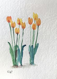Yellow Tulips Watercolor Card / Hand Painted by gardenblooms