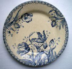 Assiette ART Nouveau Terre DE FER Porcelaine Opaque Gien LES Tulipes | eBay